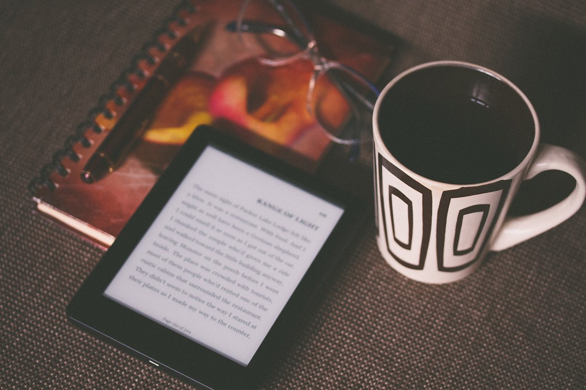 Ebook and coffee cup