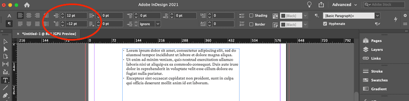 Hanging indent with bullet points in InDesign